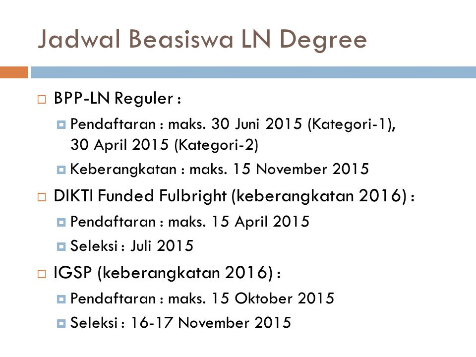Jadwal Beasiswa LN Degree