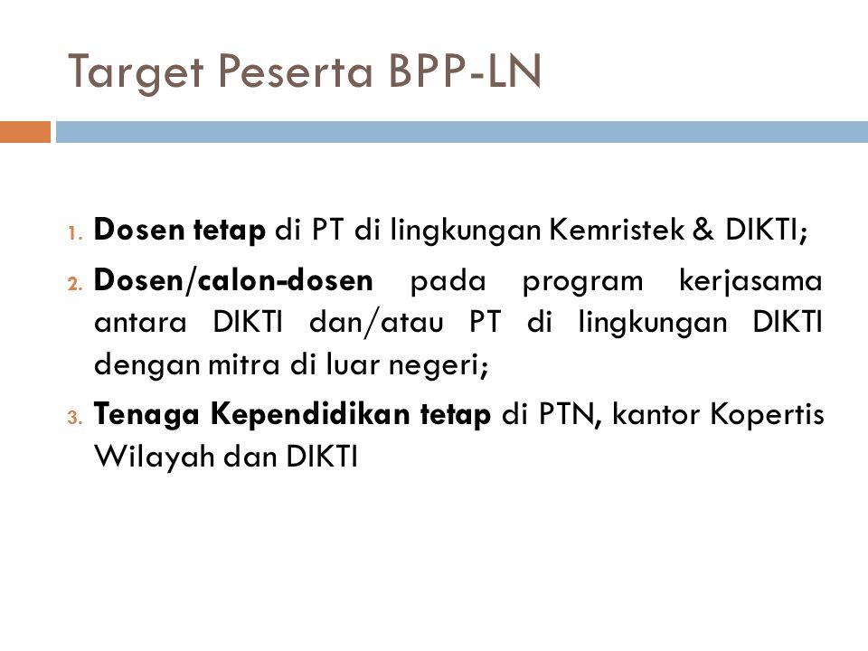 Target Peserta BPP-LN Dosen tetap di PT di lingkungan Kemristek & DIKTI;