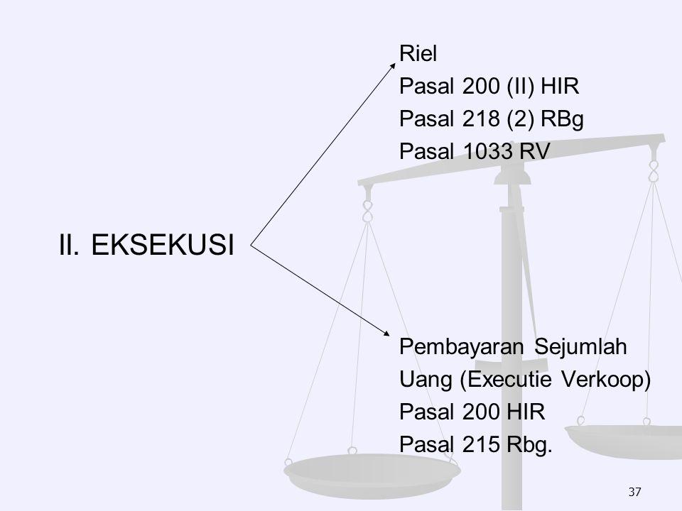 II. EKSEKUSI Riel Pasal 200 (II) HIR Pasal 218 (2) RBg Pasal 1033 RV