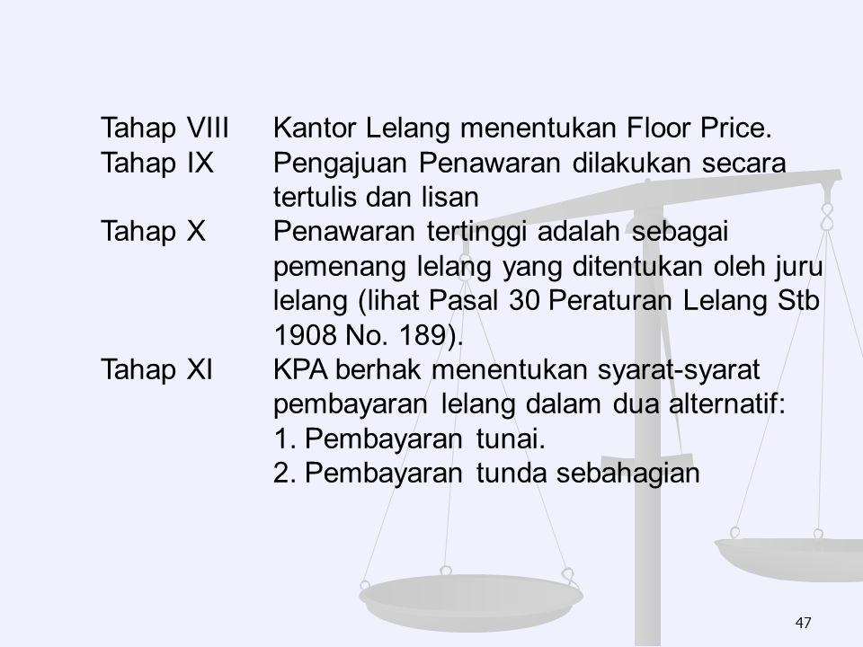 Tahap VIII Kantor Lelang menentukan Floor Price.