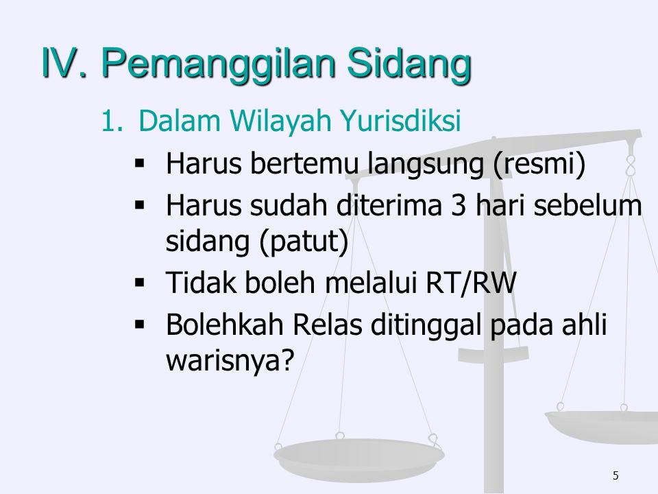 IV. Pemanggilan Sidang Dalam Wilayah Yurisdiksi