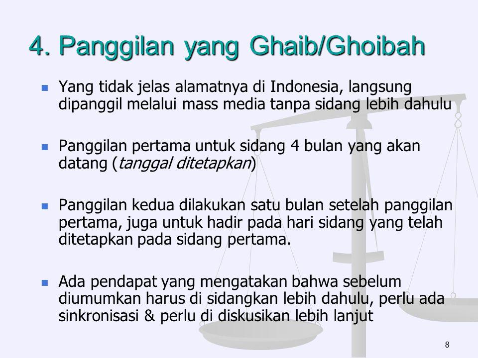 4. Panggilan yang Ghaib/Ghoibah