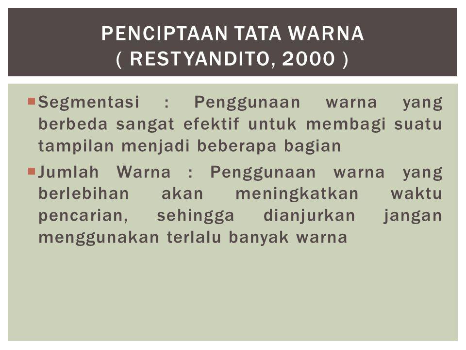 PENCIPTAAN TATA WARNA ( Restyandito, 2000 )