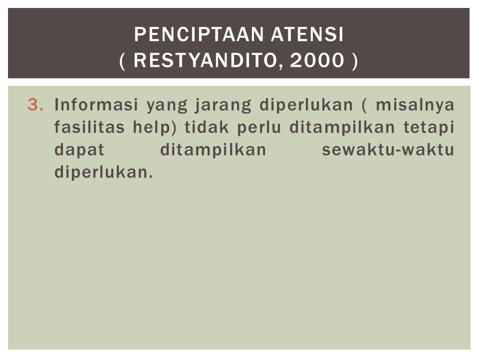 PENCIPTAAN ATENSI ( Restyandito, 2000 )