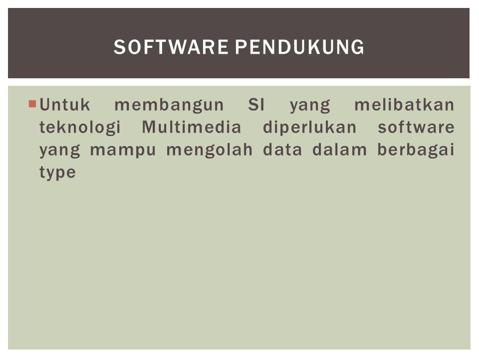SOFTWARE PENDUKUNG Untuk membangun SI yang melibatkan teknologi Multimedia diperlukan software yang mampu mengolah data dalam berbagai type.