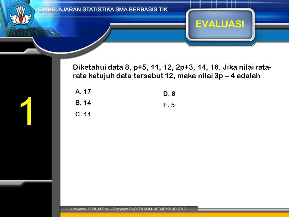 EVALUASI Diketahui data 8, p+5, 11, 12, 2p+3, 14, 16. Jika nilai rata-rata ketujuh data tersebut 12, maka nilai 3p – 4 adalah.