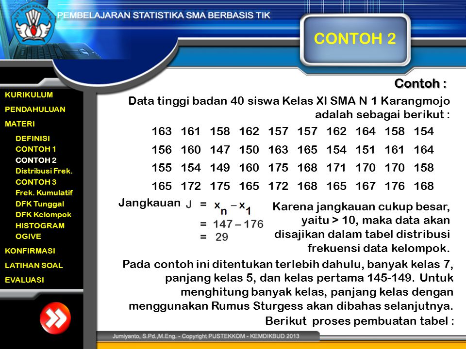 CONTOH 2 Contoh : Data tinggi badan 40 siswa Kelas XI SMA N 1 Karangmojo adalah sebagai berikut : 172.