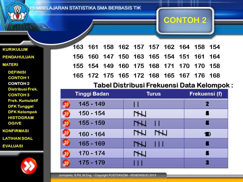 CONTOH 2 Tabel Distribusi Frekuensi Data Kelompok : 172 165 175 150