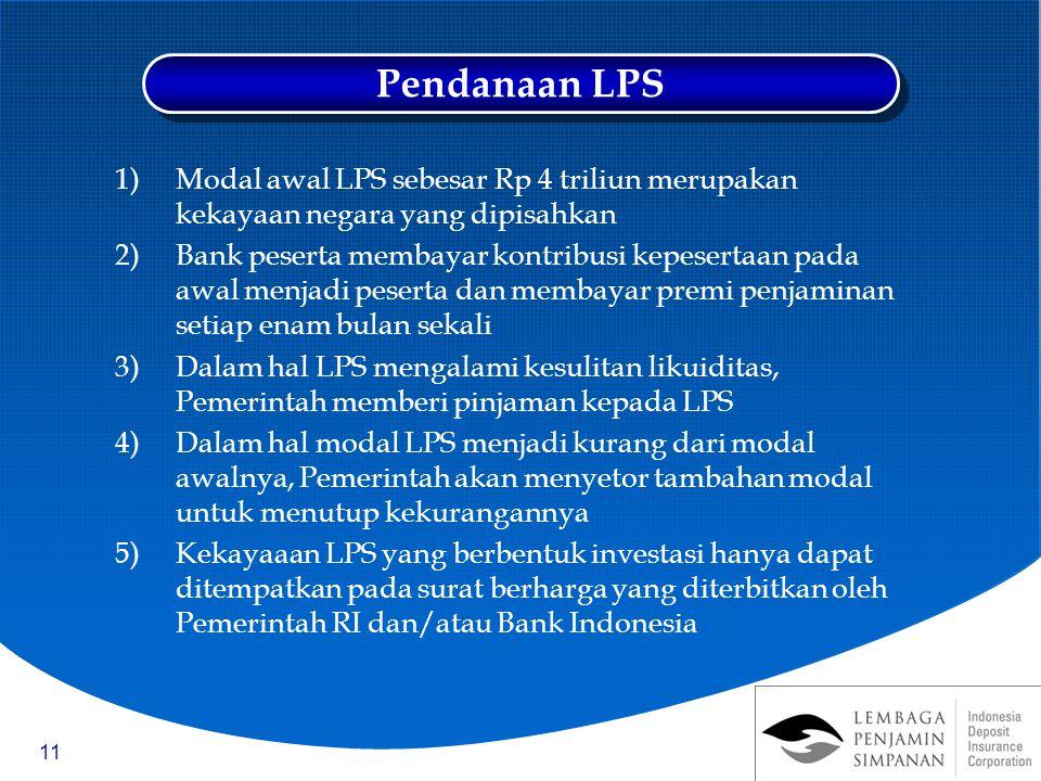 Pendanaan LPS Modal awal LPS sebesar Rp 4 triliun merupakan kekayaan negara yang dipisahkan.