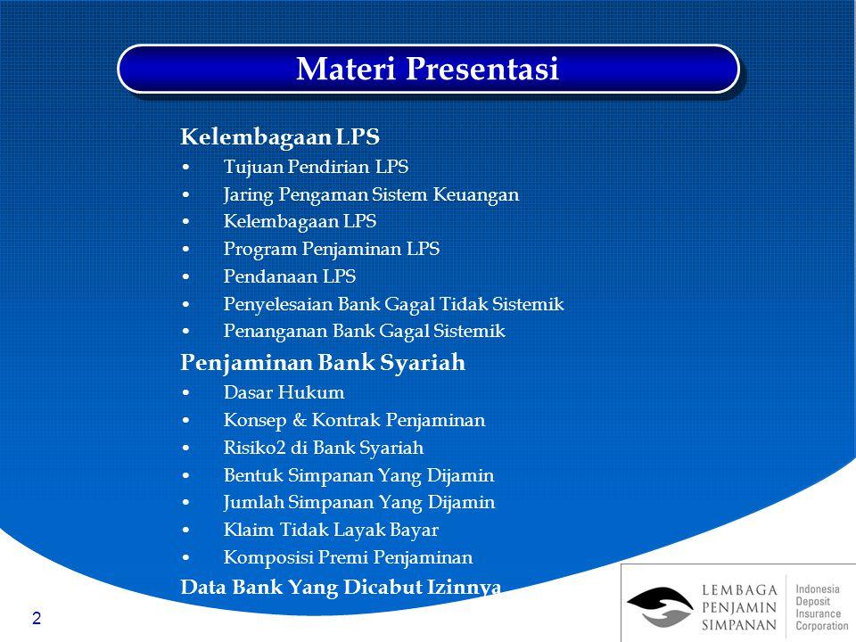 Materi Presentasi Kelembagaan LPS Penjaminan Bank Syariah
