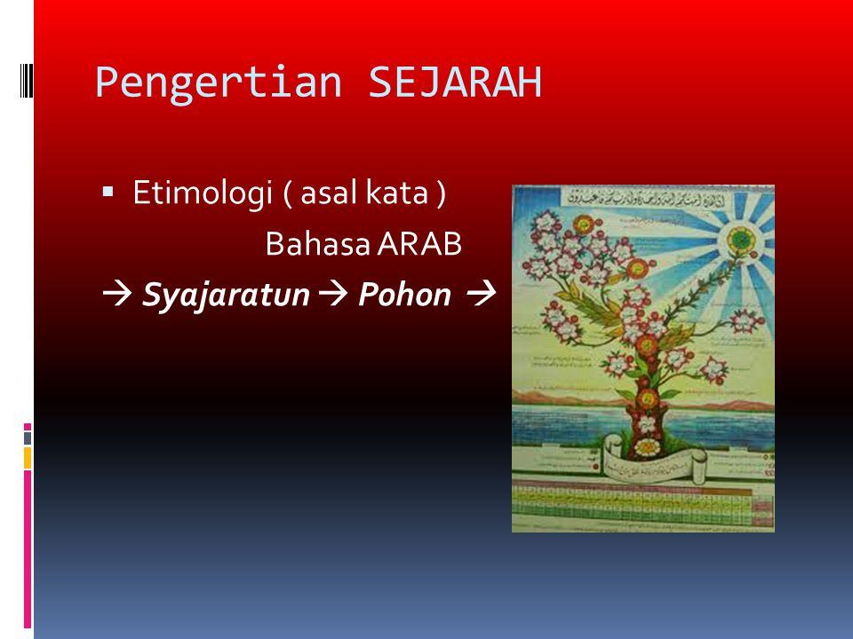 Pengertian SEJARAH Etimologi ( asal kata ) Bahasa ARAB