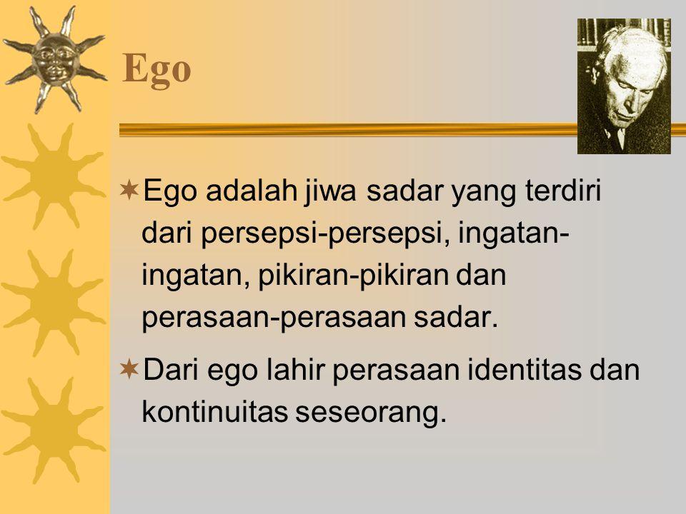 Ego Ego adalah jiwa sadar yang terdiri dari persepsi-persepsi, ingatan-ingatan, pikiran-pikiran dan perasaan-perasaan sadar.