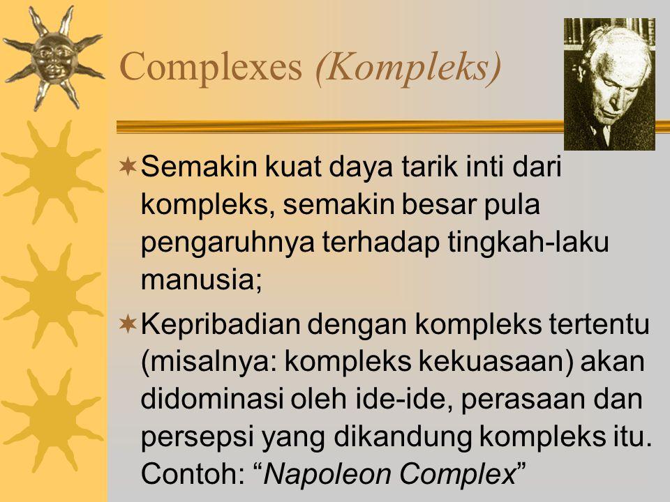 Complexes (Kompleks) Semakin kuat daya tarik inti dari kompleks, semakin besar pula pengaruhnya terhadap tingkah-laku manusia;