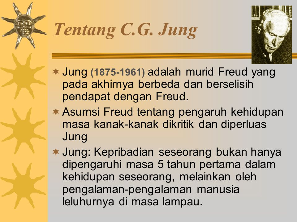 Tentang C.G. Jung Jung (1875-1961) adalah murid Freud yang pada akhirnya berbeda dan berselisih pendapat dengan Freud.