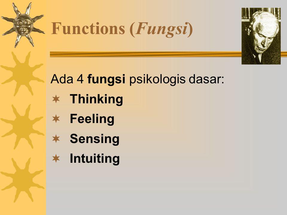 Functions (Fungsi) Ada 4 fungsi psikologis dasar: Thinking Feeling
