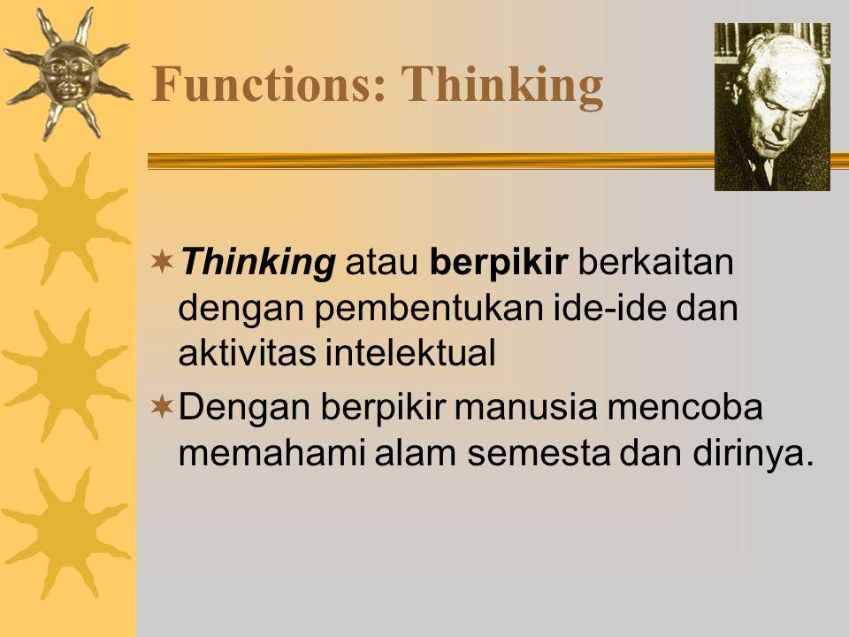 Functions: Thinking Thinking atau berpikir berkaitan dengan pembentukan ide-ide dan aktivitas intelektual.