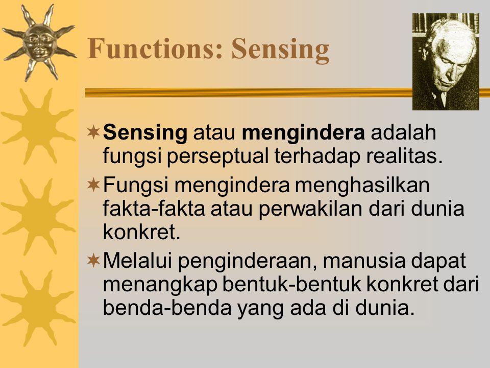 Functions: Sensing Sensing atau mengindera adalah fungsi perseptual terhadap realitas.