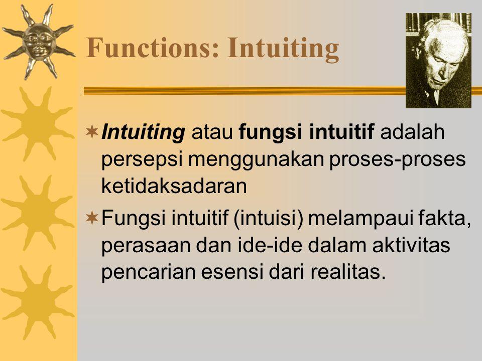 Functions: Intuiting Intuiting atau fungsi intuitif adalah persepsi menggunakan proses-proses ketidaksadaran.