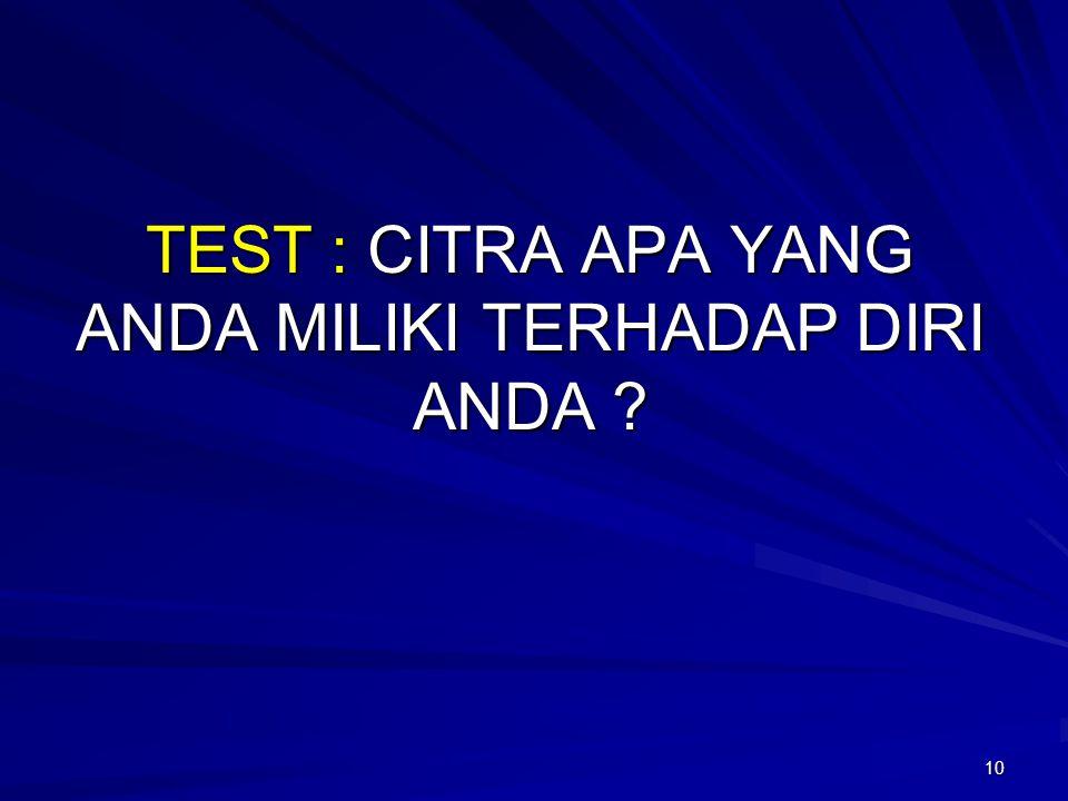 TEST : CITRA APA YANG ANDA MILIKI TERHADAP DIRI ANDA