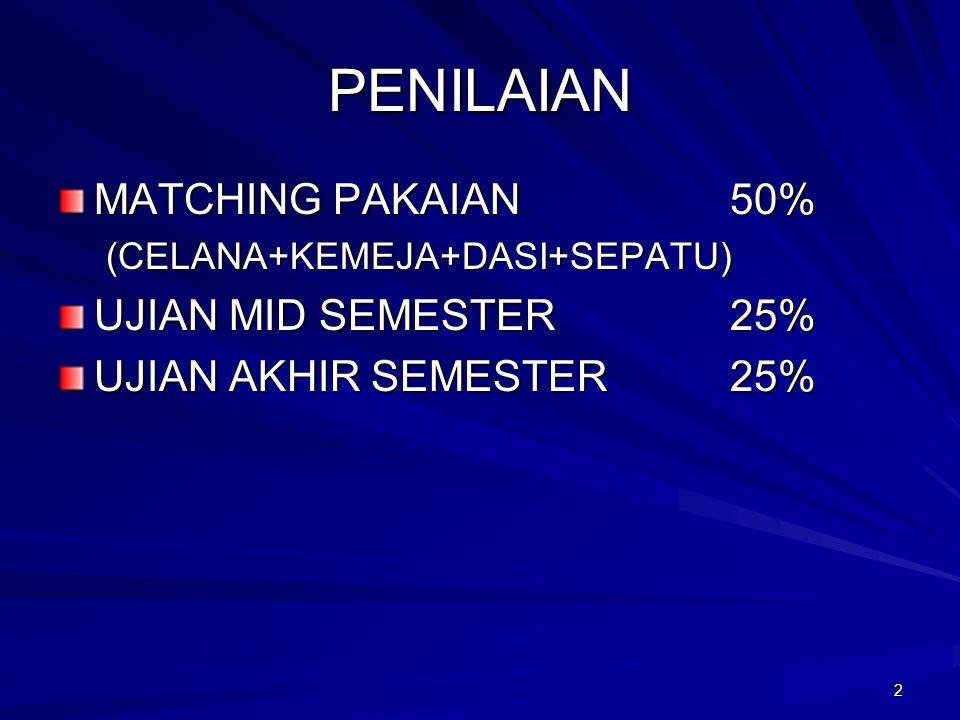 PENILAIAN MATCHING PAKAIAN 50% UJIAN MID SEMESTER 25%