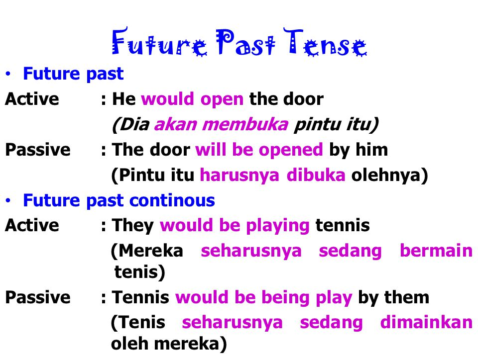 Future Past Tense Future past Active : He would open the door