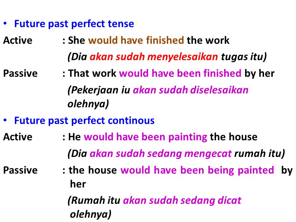 Future past perfect tense