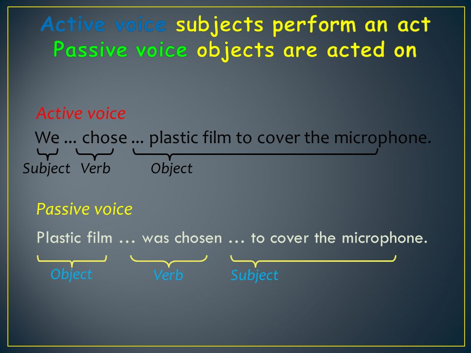Active voice subjects perform an act