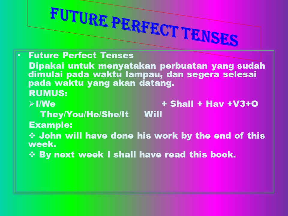 FUTURE PERFECT TENSES Future Perfect Tenses