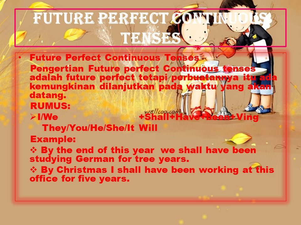 FUTURE PERFECT CONTINUOUS TENSES