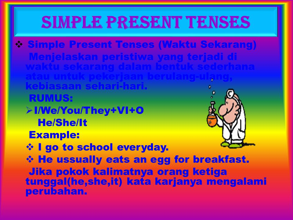 Simple Present Tenses Simple Present Tenses (Waktu Sekarang)