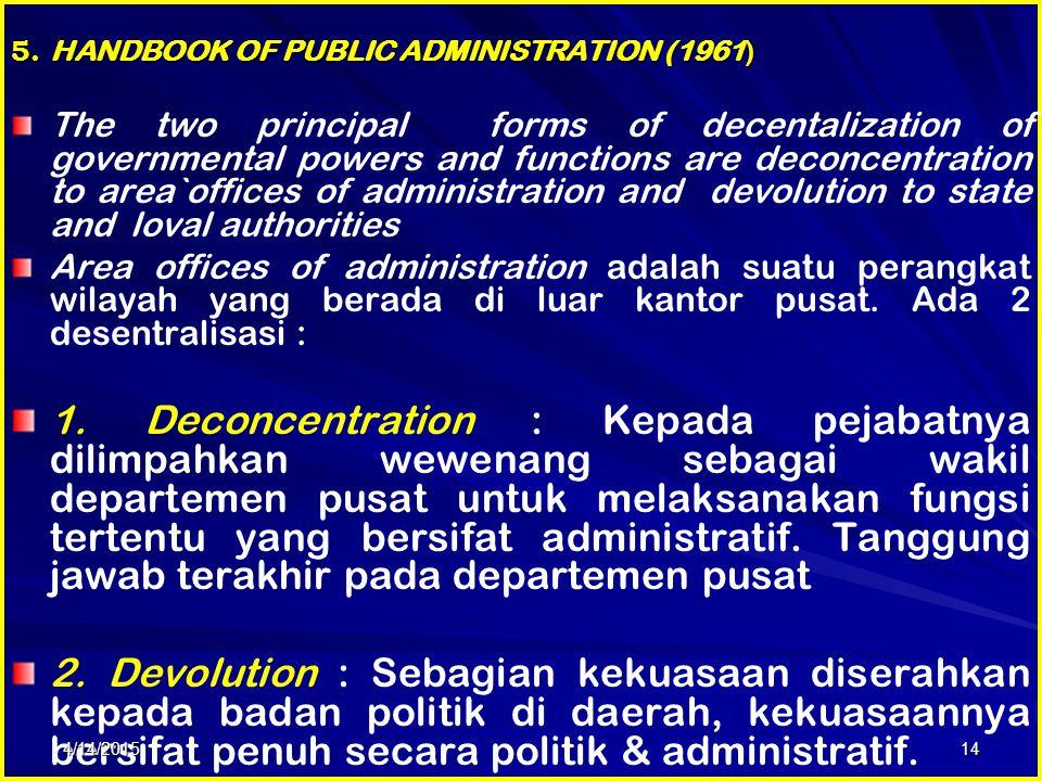 5. HANDBOOK OF PUBLIC ADMINISTRATION (1961)