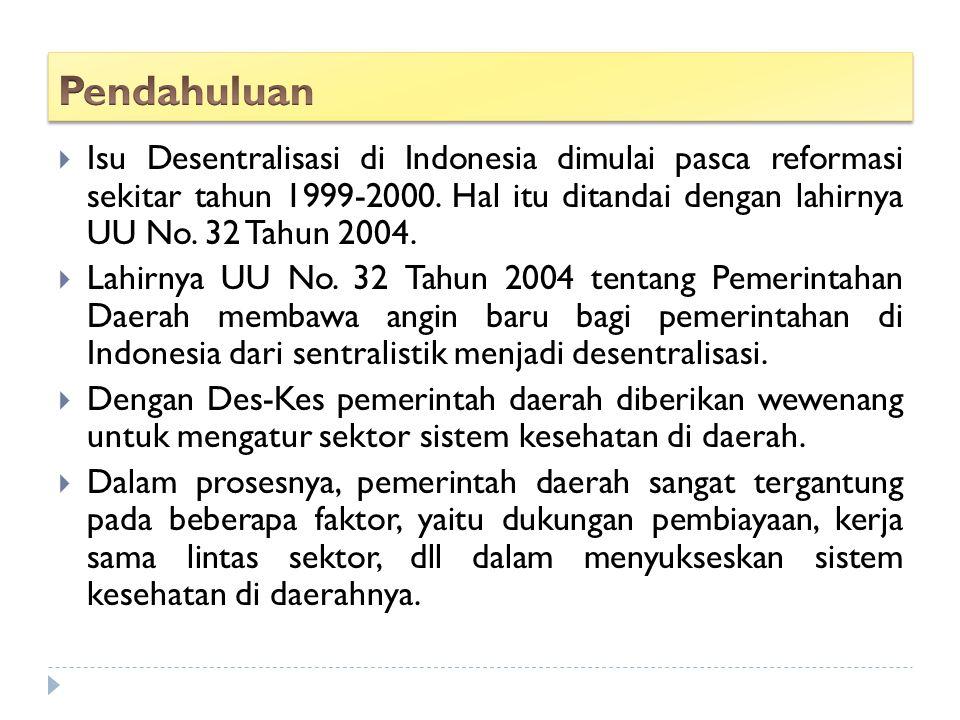 Pendahuluan Isu Desentralisasi di Indonesia dimulai pasca reformasi sekitar tahun 1999-2000. Hal itu ditandai dengan lahirnya UU No. 32 Tahun 2004.
