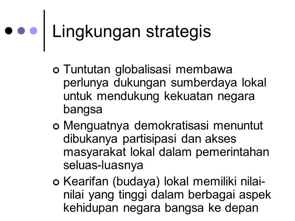 Lingkungan strategis Tuntutan globalisasi membawa perlunya dukungan sumberdaya lokal untuk mendukung kekuatan negara bangsa.