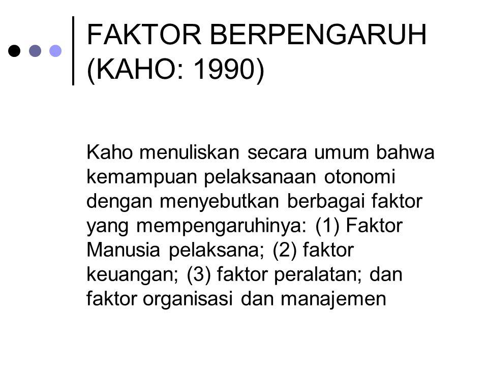 FAKTOR BERPENGARUH (KAHO: 1990)