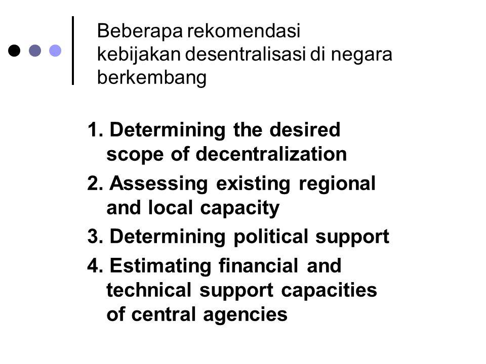 Beberapa rekomendasi kebijakan desentralisasi di negara berkembang