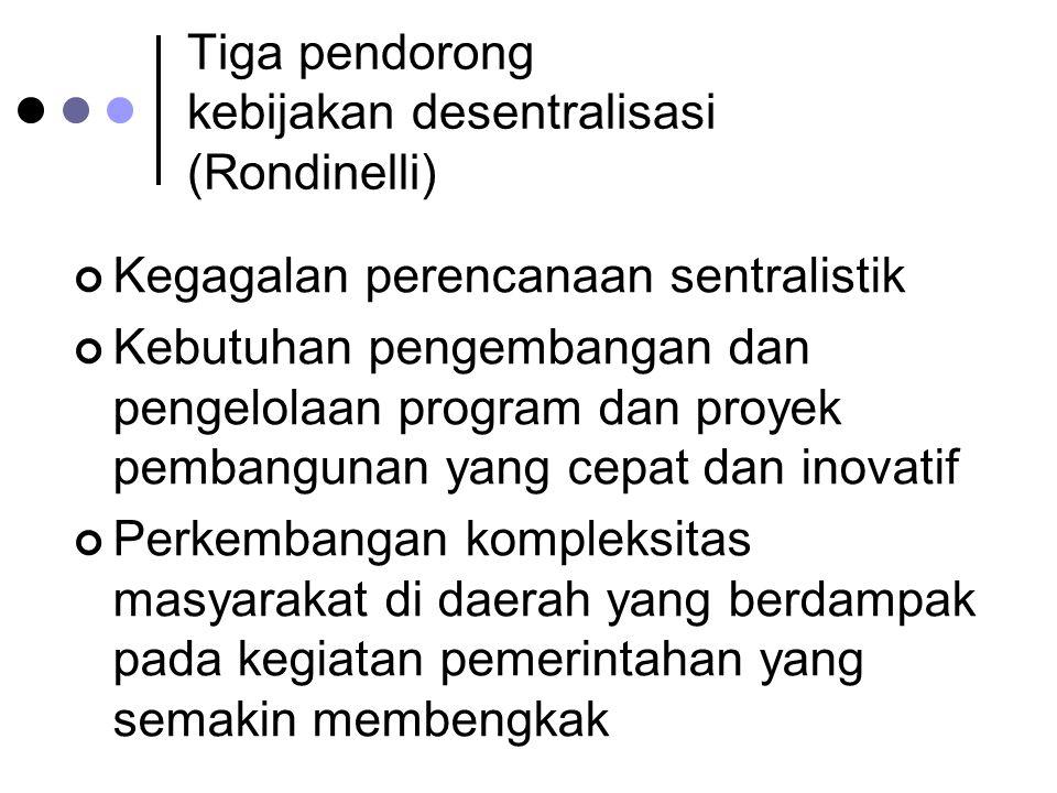 Tiga pendorong kebijakan desentralisasi (Rondinelli)