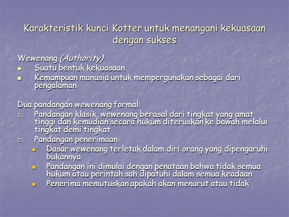 Karakteristik kunci Kotter untuk menangani kekuasaan dengan sukses