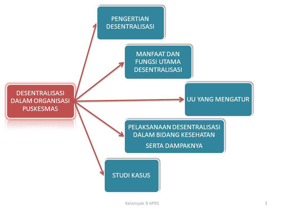 Kelompok 9 APRS DESENTRALISASI DALAM ORGANISASI PUSKESMAS