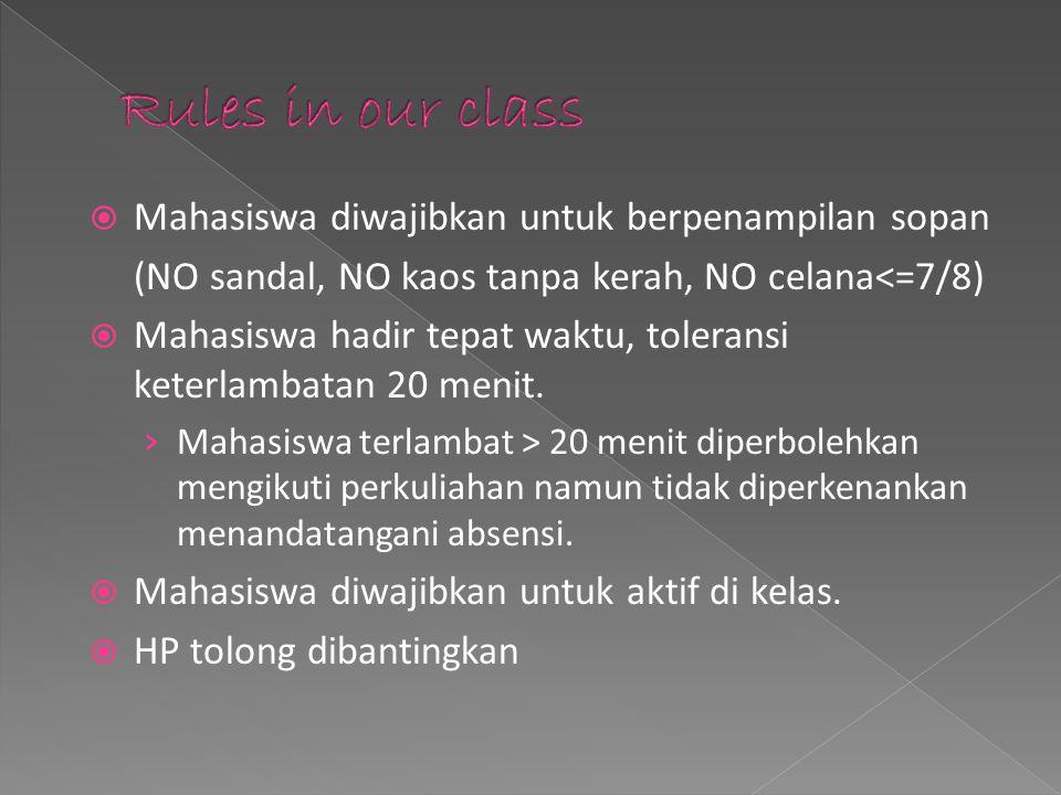 Rules in our class Mahasiswa diwajibkan untuk berpenampilan sopan