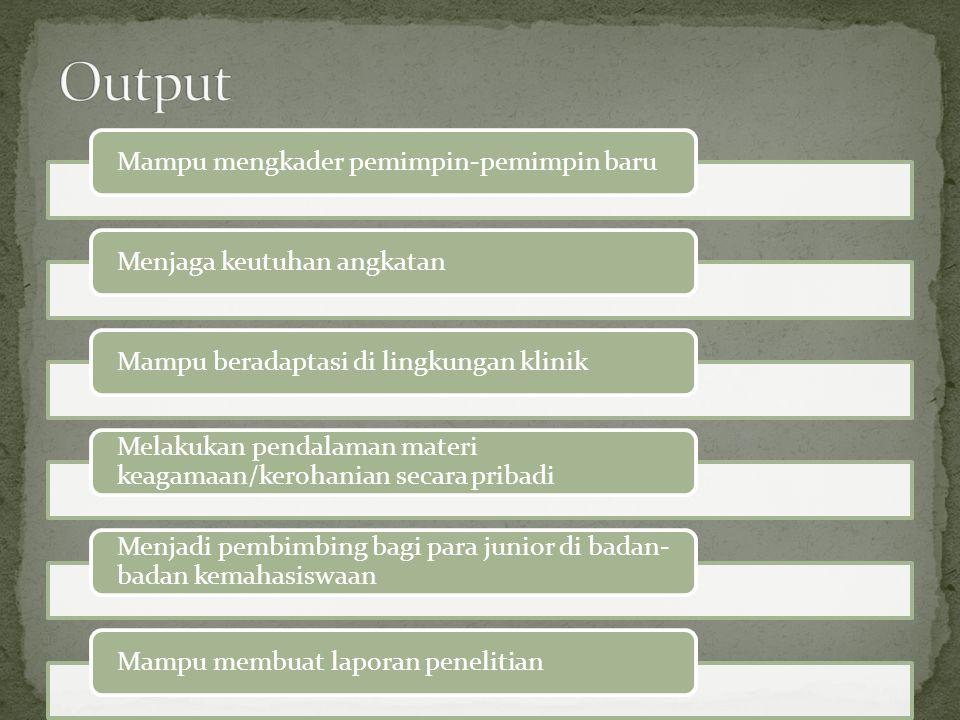 Output Mampu mengkader pemimpin-pemimpin baru