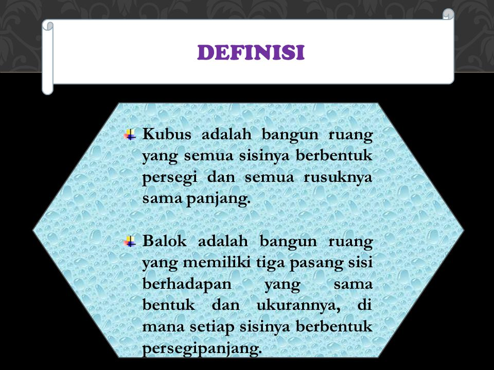 DEFINISI Kubus adalah bangun ruang yang semua sisinya berbentuk persegi dan semua rusuknya sama panjang.