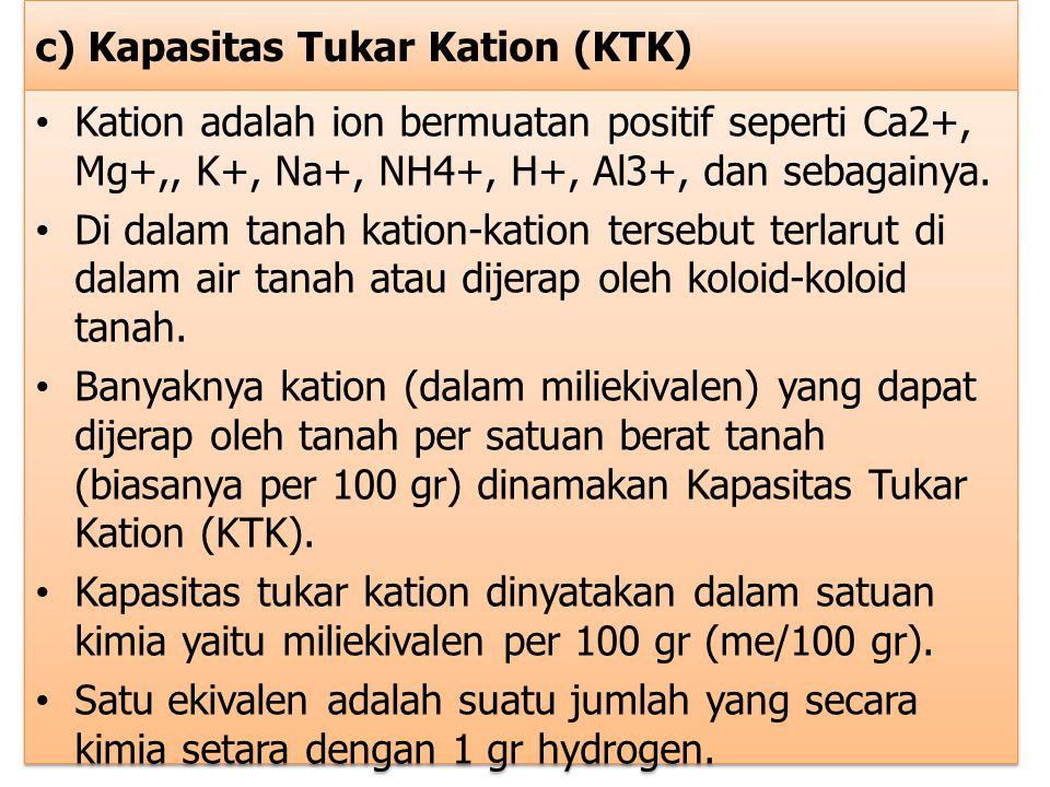 c) Kapasitas Tukar Kation (KTK)