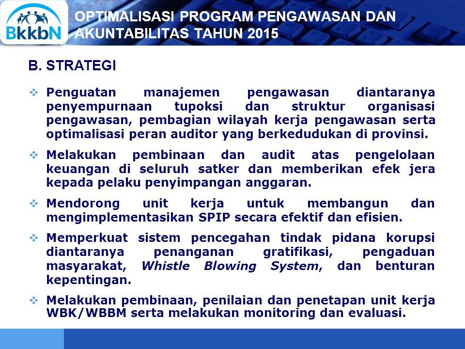 OPTIMALISASI PROGRAM PENGAWASAN DAN AKUNTABILITAS TAHUN 2015