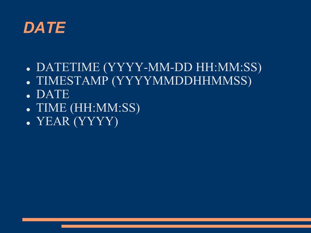 DATE DATETIME (YYYY-MM-DD HH:MM:SS) TIMESTAMP (YYYYMMDDHHMMSS) DATE