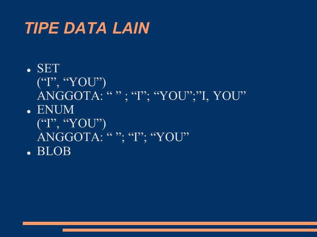 TIPE DATA LAIN SET ( I , YOU ) ANGGOTA: ; I ; YOU ; I, YOU