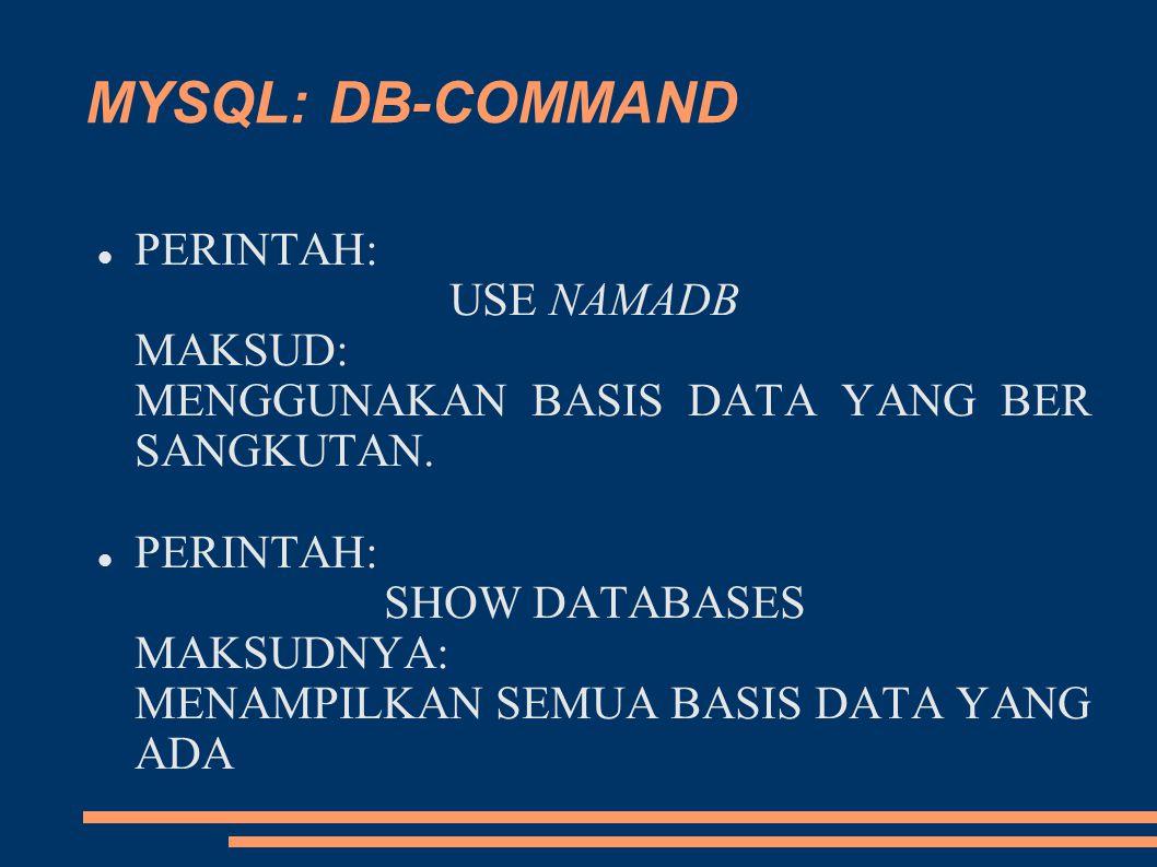 MYSQL: DB-COMMAND PERINTAH: USE NAMADB MAKSUD: