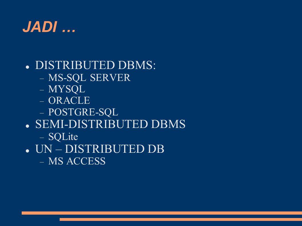 JADI … DISTRIBUTED DBMS: SEMI-DISTRIBUTED DBMS UN – DISTRIBUTED DB