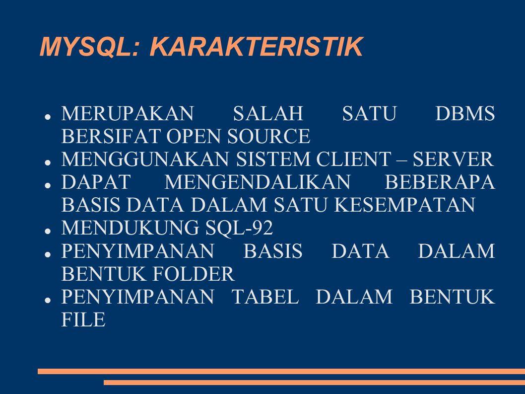 MYSQL: KARAKTERISTIK MERUPAKAN SALAH SATU DBMS BERSIFAT OPEN SOURCE