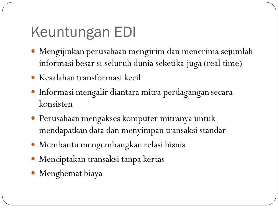 Keuntungan EDI Mengijinkan perusahaan mengirim dan menerima sejumlah informasi besar si seluruh dunia seketika juga (real time)