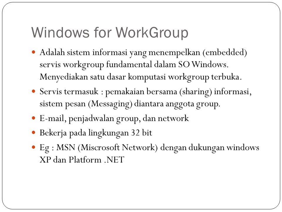 Windows for WorkGroup
